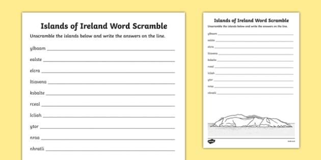 Islands of Ireland Word Scramble Activity Sheet-Irish, worksheet
