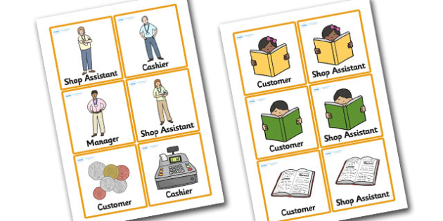 Book Shop Role Play Badges - book shop role play, book shop badge, book shop role badges, cashier badge, manager badge, cashier badge, shop assistant badge