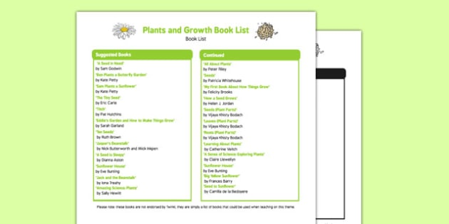 Plants and Growth Book List - EYFS, Early years, stories, non-fiction, Understanding the World, growing, seeds