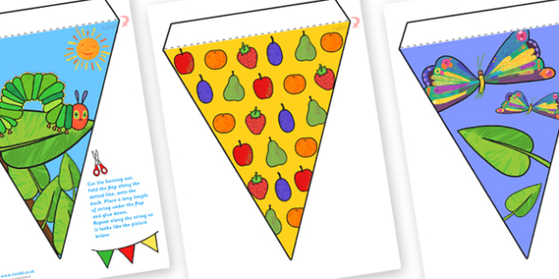Themed Bunting to Support Teaching on The Very Hungry Caterpillar - the very hungry caterpillar, bunting, themed bunting, display bunting, bunting for display, display