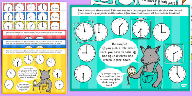 O'Clock and Half Past Time Bingo and Lotto Game - o'clock, half past, time, bingo, lotto, game, activity
