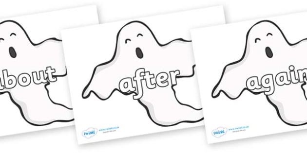 KS1 Keywords on Ghosts (Plain) - KS1, CLL, Communication language and literacy, Display, Key words, high frequency words, foundation stage literacy, DfES Letters and Sounds, Letters and Sounds, spelling