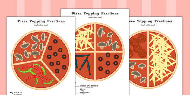 Pizza Fractions Worksheets Halves, Quarters and Thirds Arabic Translation - arabic