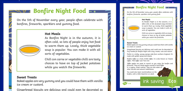 KS1 Bonfire Night Food Differentiated Fact File