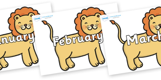 Months of the Year on Lions - Months of the Year, Months poster, Months display, display, poster, frieze, Months, month, January, February, March, April, May, June, July, August, September