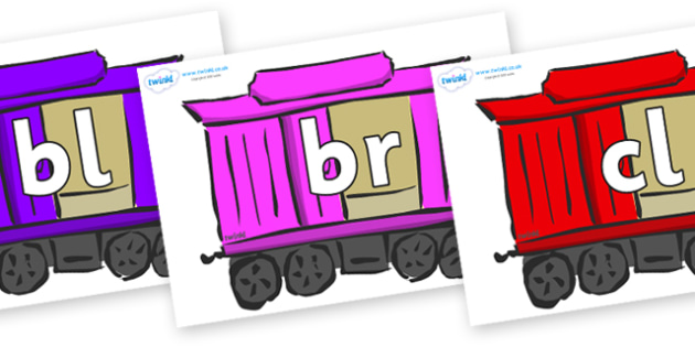 Initial Letter Blends on Carriages - Initial Letters, initial letter, letter blend, letter blends, consonant, consonants, digraph, trigraph, literacy, alphabet, letters, foundation stage literacy
