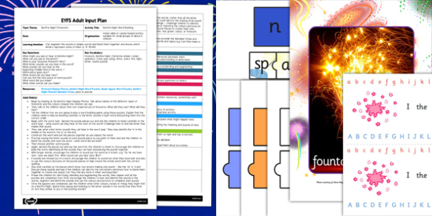Bonfire Night Word Building EYFS Adult Input Plan and Resource Pack