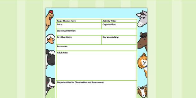 Farm Themed Adult Led Focus Planning Template - farm, plans