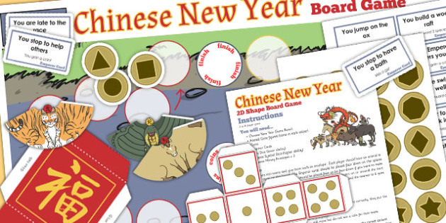 2D Shape Chinese New Year Board Game - board game, shapes, 2d