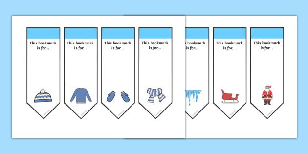 Editable Winter Bookmarks - Winter, Bookmark, bookmark template, present, book, reward, achievement, ice, penguin, huskey, snow, winter, frost, cold, ice, hat, gloves