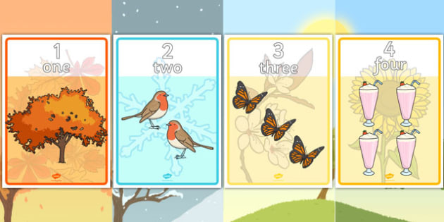 Seasons Themed Number and Word Posters - seasons, number, word, posters