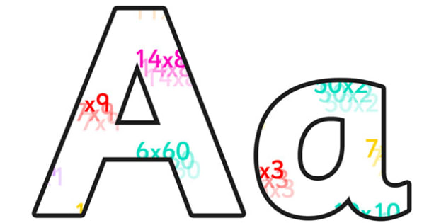Multiplication Small Lowercase Display Lettering - multiplication, multiplication display lettering, multiplication display letters, multiplication a-z