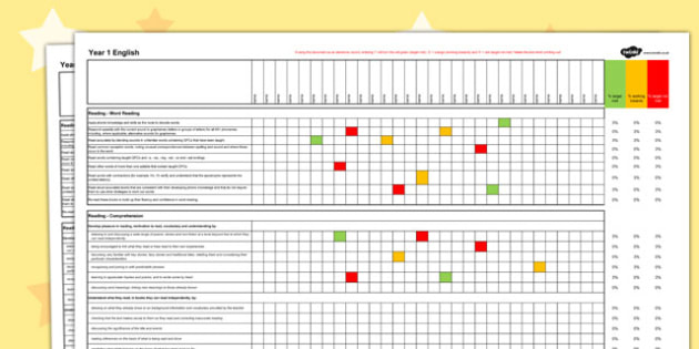 2014 Curriculum Year 1 English Reading Spreadsheet - targets, read