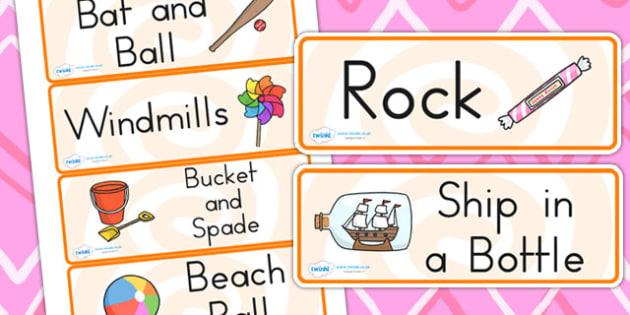 Seaside Souvenir Shop Role Play Labels - seaside, sea, role play