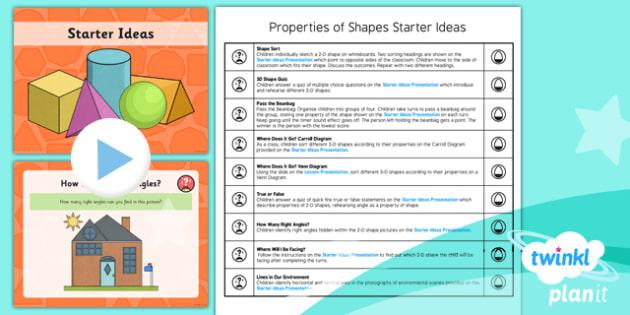 PlanIt Y3 Properties of Shape Starter Ideas Pack  - PlanIt, Properties of Shapes