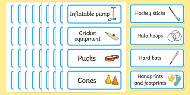 PE Resource Labels - PE label, PE equipment, PE, physical education, PE cupboard, PE, physical development, quoits, cones, bats, balls, Resource Label, Editable Labels, KS1 Labels, Foundation Labels, Foundation Stage Labels