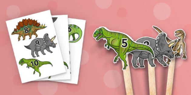 Realistic Dinosaurs Stick Puppet 1-10 - dinosaur, puppet, roleplay