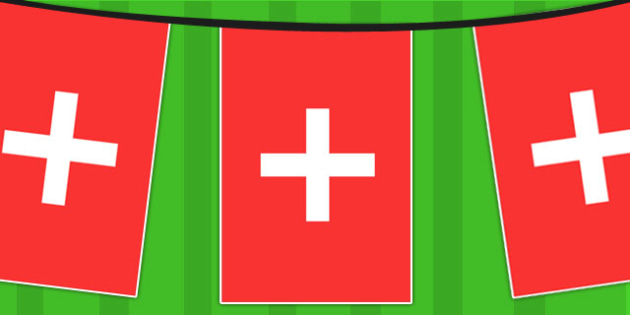 Switzerland A4 Flag Bunting - countries, geography, flag, country