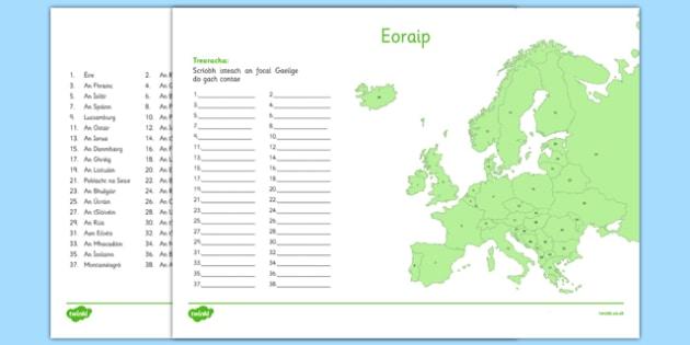 Irish Map of Europe Activity Sheet Gaeilge - Irish , Europe ,Geography, worksheet