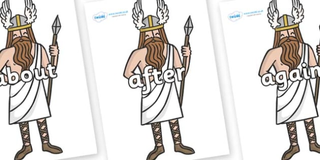 KS1 Keywords on Viking Gods - KS1, CLL, Communication language and literacy, Display, Key words, high frequency words, foundation stage literacy, DfES Letters and Sounds, Letters and Sounds, spelling