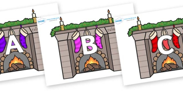 A-Z Alphabet on Fireplaces - A-Z, A4, display, Alphabet frieze, Display letters, Letter posters, A-Z letters, Alphabet flashcards