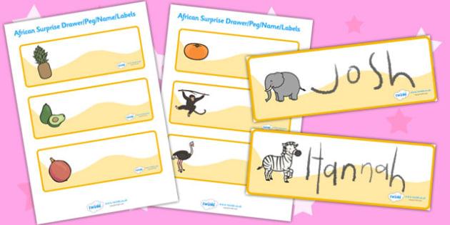 African Surprise Drawer Peg Name Labels Editable - edit, label