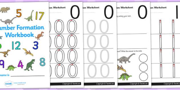 Dinosaur Themed 0 20 Number Formation Workbook - dinosaur, 0, 20, number, formation, number formation, dinosaur themed number formation, numeracy, maths