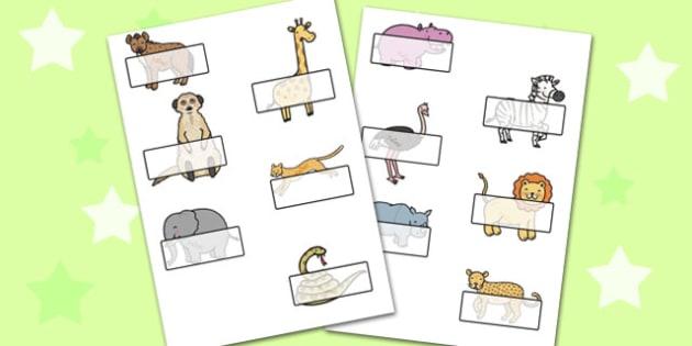 Editable Self Registration Labels (African Animals) - Self registration, register, Africa, Animals, editable, labels, registration, child name label, printable labels