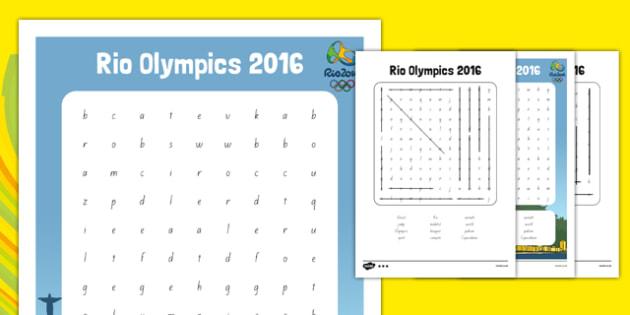 Rio Olympics 2016 Word Search - nz, new zealand, rio olympics, 2016 olympics, rio 2016, wordsearch, word search