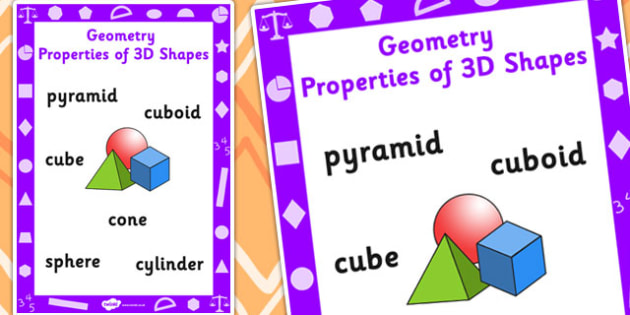 Key Stage 1 Geometry Properties of 3D Shapes Poster - Geometry, Shapes