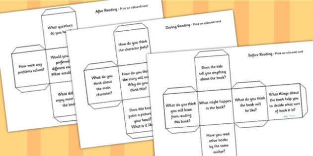 Reading Book Question Prompts Dice Net - visual aid, books, literacy