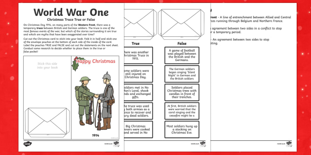 World War One - World War One Christmas Truce True or False Cut and Stick Activity