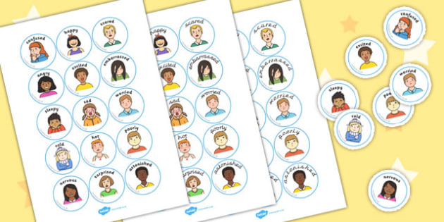 Emotion Discs - feelings, emotions, visual, aid, disc, label