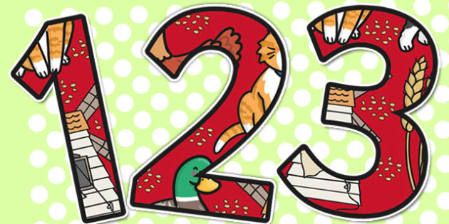 The Little Red Hen Themed A4 Display Numbers - Little, Red, Hen