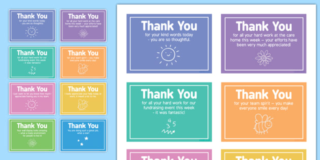 Care Staff Thank You Notes - care staff, thank you notes, thank you, notes, care, staff