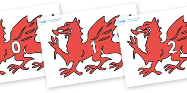 Numbers 0-50 on Welsh Dragons - 0-50, foundation stage numeracy, Number recognition, Number flashcards, counting, number frieze, Display numbers, number posters