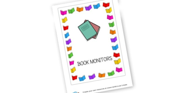 Book monitors label - Classroom Signs & Label Primary Resources, labels, posters, rules