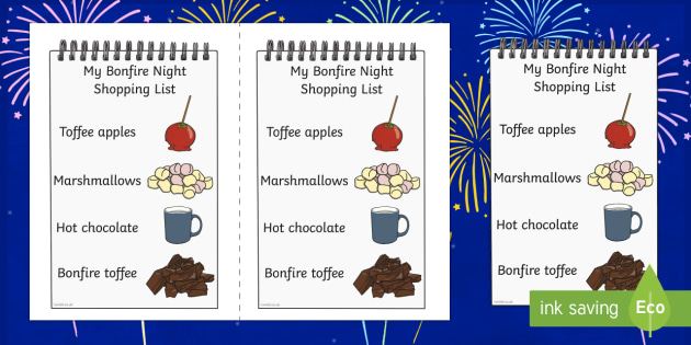 Bonfire Night Food Shopping List Writing Template