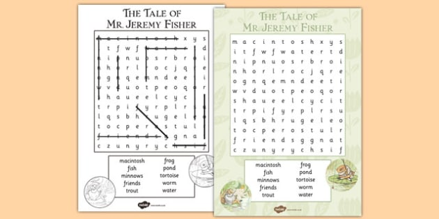 The Tale of Mr Jeremy Fisher Wordsearch - beatrix potter, traditiona, tale, story, tell, challenge, sheet, work, task, words, letters, spelling, retell, understand, ks1, ks2, key stage,