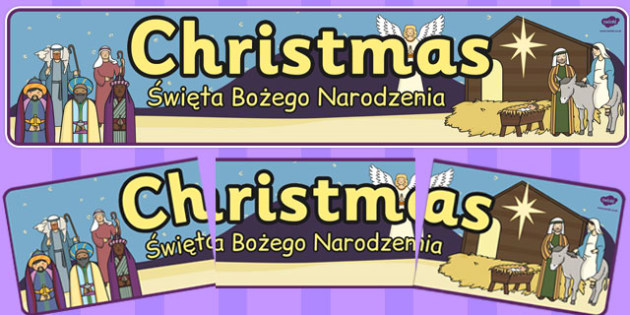 Christmas Display Banner Polish Translation - festive, colourful, header, early years, ks1, key stage 1