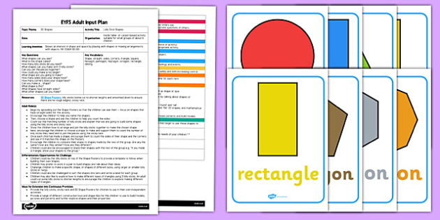 EYFS Lolly Stick Shapes Adult Input Plan and Resource Pack - EYFS, Early Years planning, adult led, Maths, shape, space and measure, 2D shapes.