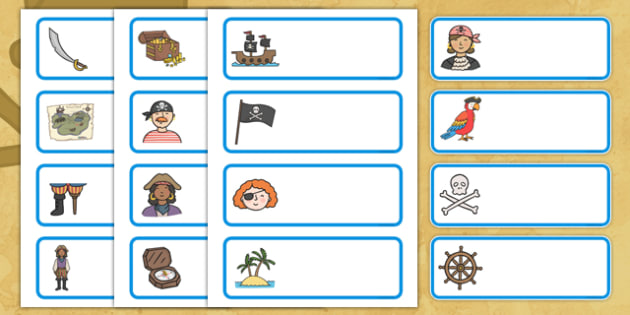 Editable Drawer - Peg - Name Labels (Pirates) - Pirate Label Templates, pirates, Resource Labels, Name Labels, Editable Labels, Drawer Labels, Coat Peg Labels, Peg Label, KS1 Labels, Foundation Labels, Foundation Stage Labels, Teaching Labels