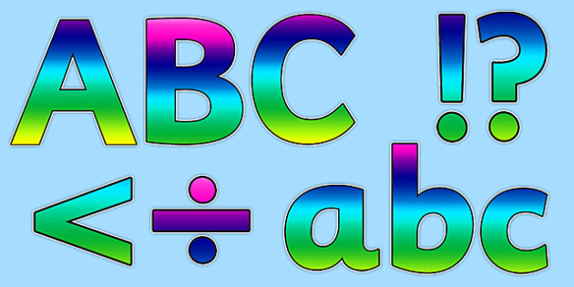 Rainbow Alphabet Display Lettering - rainbow, alaphabet, display, lettering, display lettering, letters, words, display alphabet, lettering for display