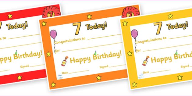 Editable Birthday Certificates (Age 3) - Birthday, Certificate, Award, age 3, birthday gift, present, book, reward, achievement