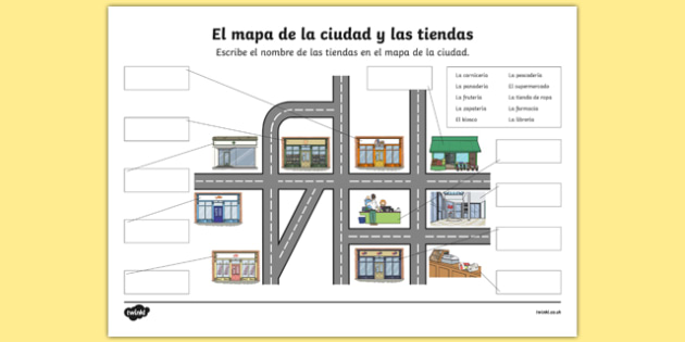 Shops in Town Map Activity Sheet Spanish, worksheet