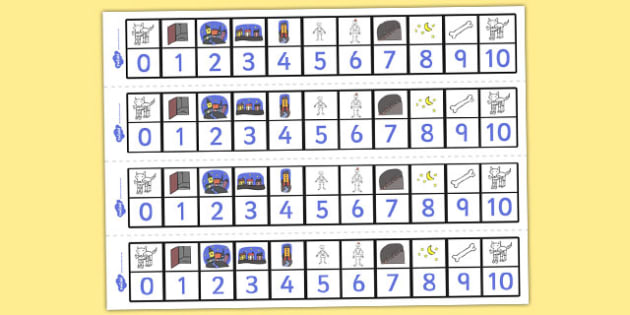Number Track 1 to 10 to Support Teaching on Funnybones - maths, counting, bigger, smaller, numeracy, KS1, key stage 1, early years,