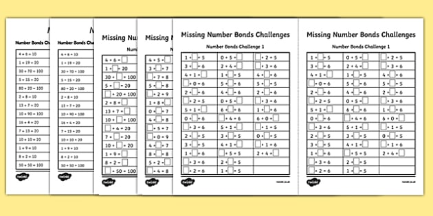 Missing Number Bonds Challenges Activity Sheet Pack - missing number, number bonds, challenges, activity sheet, worksheet