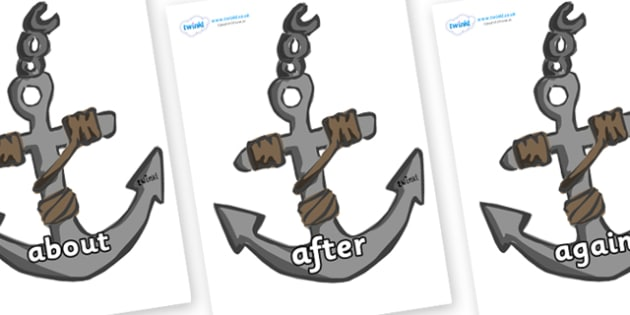 KS1 Keywords on Anchors - KS1, CLL, Communication language and literacy, Display, Key words, high frequency words, foundation stage literacy, DfES Letters and Sounds, Letters and Sounds, spelling