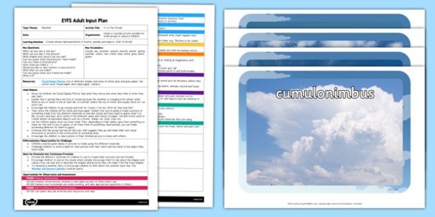 EYFS Its in the Clouds Adult Input Plan and Resource Pack - EYFS, Early Years planning, adult led, weather, seasons, EAD, Expressive Arts and Design
