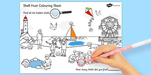 Seaside Shell Hunt Colouring Sheet - seaside, shell, hunt, colouring